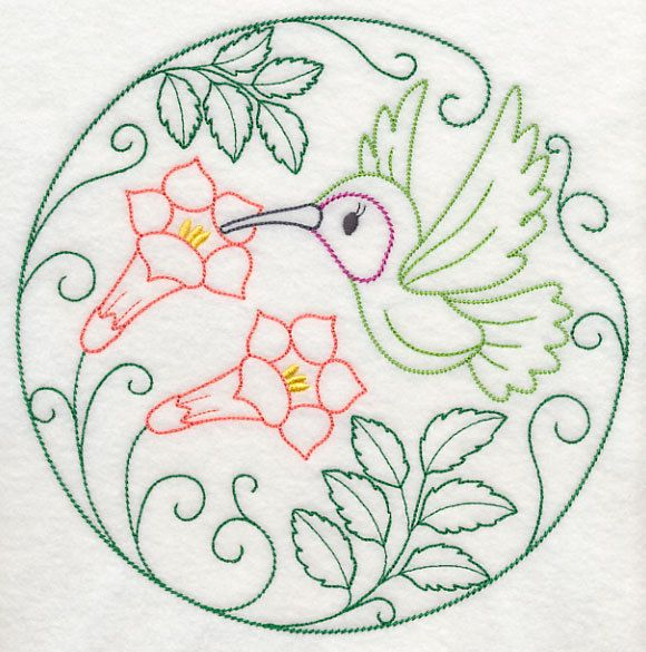 3 Spring bird floral simple stitch embroidered fabric sewing quilt block square