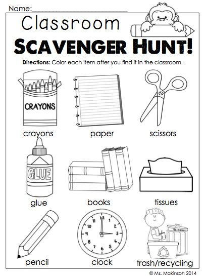 $Back to School Printables - Kindergarten Literacy and Math.  A classroom scavenger hunt to help your students locate the most important items in the classroom during the first week of school! :)