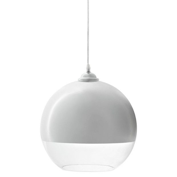 DETAILSIlluminate your living room, dining room or foyer in chic style with this elegant pendant, showcases a clear glass casing and chrome plated top to convey both revelation and reflection.Product:Pendant LightMaterial:Glass, half chrome plating, half clearColor:ClearFeatures:Modern ceiling pendantTop chrome platedBottom casing of glass47 inch adjustable cordOne 40 watt bulb (G80)UL Listed and ApprovedDimensions:12