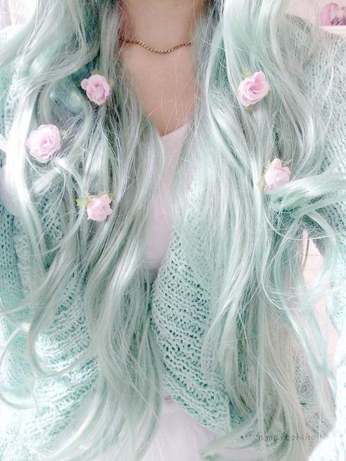 Imagen de hair, flowers, and pastel