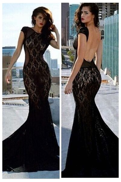 Sexy O Neck Tank Short Sleeves Backless Mesh Hollow-out Patchwork Black Polyester Mermaid Floor Length Dress