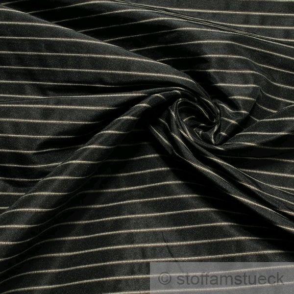 Stoff Polyester Baumwolle anthrazit Streifen beige Vorhangstoff fest