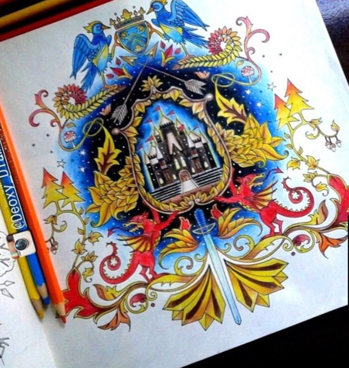 Coat Of Arms Castle Enchanted Forest Brasao Castelo Floresta Encantada Johanna Basford Coloring BookEnchanted