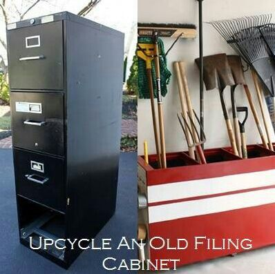 Upcycled old metal filing cabinet, use the box for storage of tools in the garage or shed; upcycle, recycle, salvage, diy, repurpose! For ideas and goods shop at Estate ReSale & ReDesign, Bonita Springs, FL