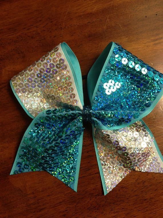 Sparkly Cheer Bows | Turquoise and White Sparkly Cheer Bow