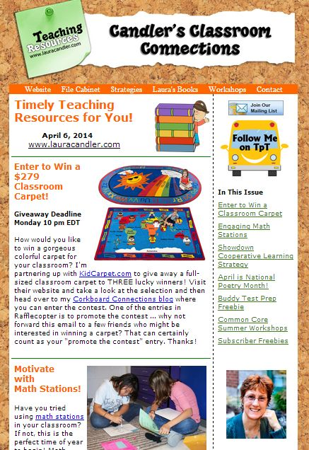 Free Candler's Classroom Connections newsletter - April 6, 2014 issue - Classroom carpet giveaway, math stations, Showdown cooperative learning strategy, and more!