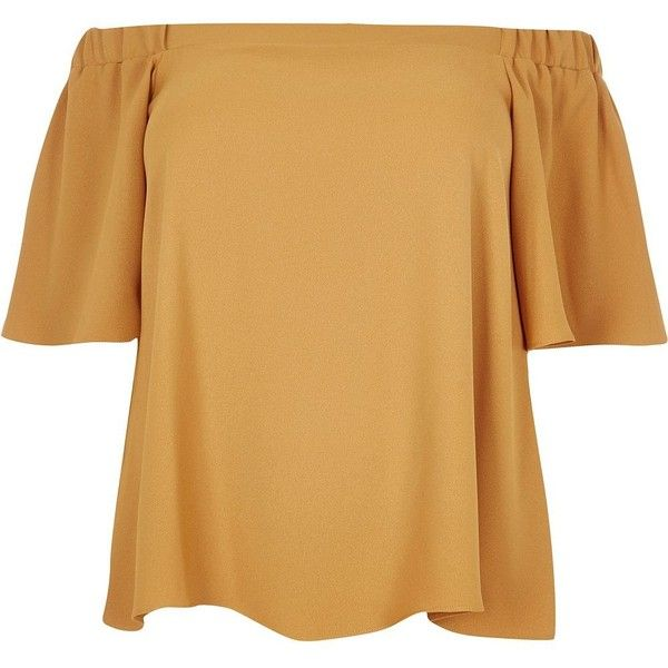 River Island RI Plus dark yellow bardot top (20 CAD) ❤ liked on Polyvore featuring tops, shirts, yellow, sale, ruffle shirt, plus size short sleeve tops, beige shirt, short sleeve tops and plus size shirts