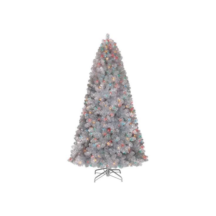 7ft Prelit Artificial Christmas Tree Silver Alberta Spruce Multicolored Lights - Wondershop