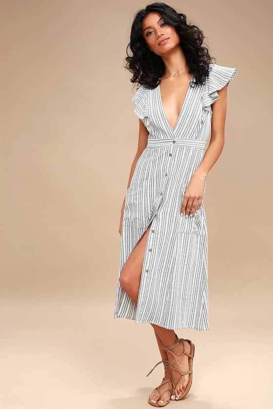 e27e66fbc047 Kika Grey Striped Button-Up Midi Dress in 2019