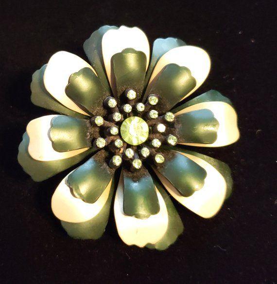 597777fa6 Vintage Flower Brooch Pin, Irish Flower Brooch, 1960s Enamel Brooch,  Rhinestone Brooch, Vintage Brooch, Mid-Century Brooch, Vintage Jewelry # brooches ...
