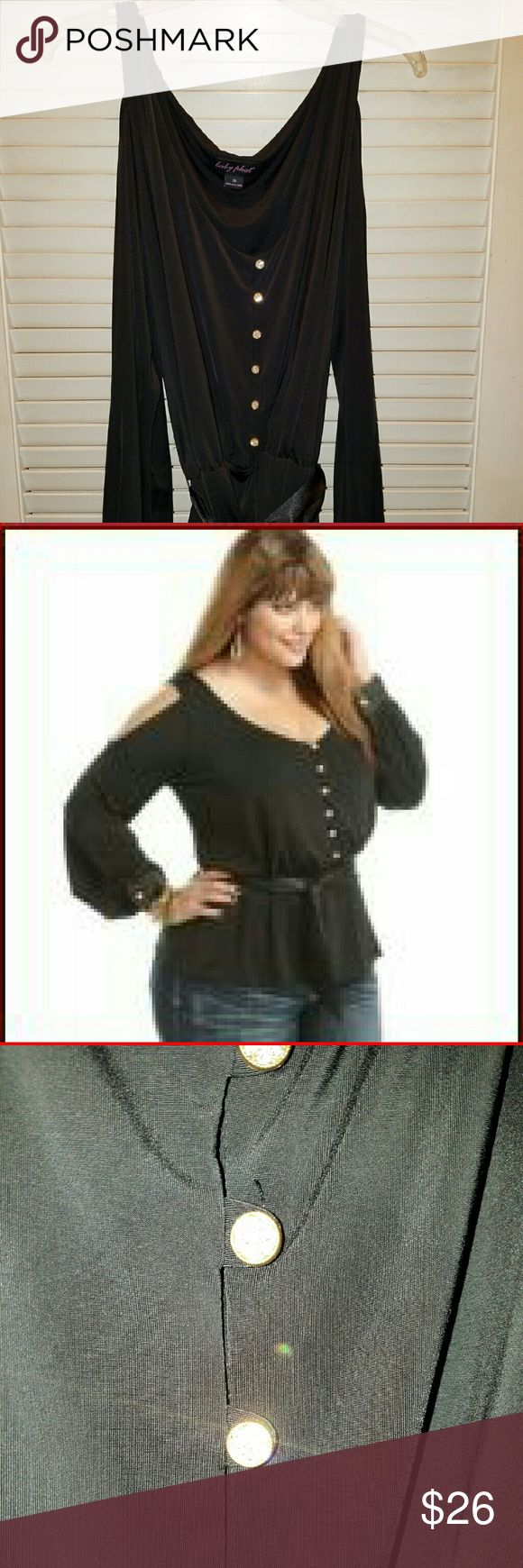 Baby Phat Glam Studio Black Cold Shoulder Top 3x Baby Phat Glam Studio Black Matte Jersey Cold Shoulder Dress Top 3x Plus Size Rhinestone buttons and satin sash Ruched waist- really cute Baby Phat Tops Blouses