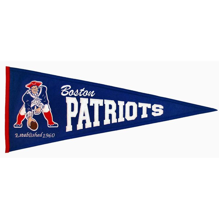 """This beautifully embroidered pennant is 32"""" x 13"""" and is retro-designed to capture the look and feel of a bygone era. A """"Must Have"""" for all New England Patriots super-fans."""