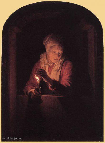 """Painting """"Oude vrouw met een kaars"""" by Gerrit Dou - www.schilderijen.nu"""
