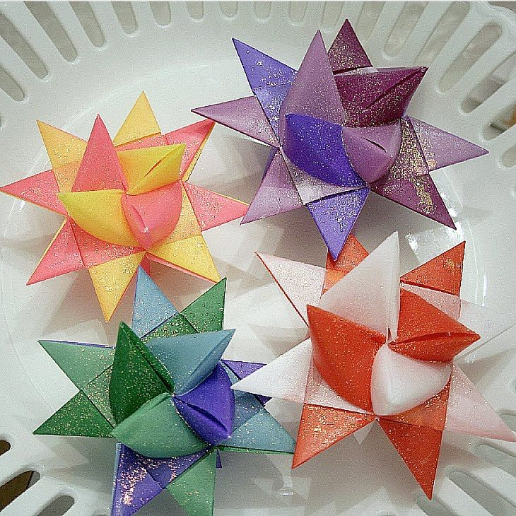 I made a tutorial for folded paper German Stars . Sometimes they are called Moravian Stars  or Froebel  Stars .  You may want to make s...