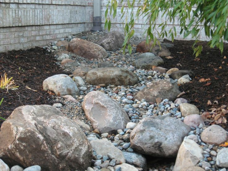 Dry Streambed Design for Downspout / Runoff management - attractive even when it's not rainy season (via Landscape Labor Solutions Blog)