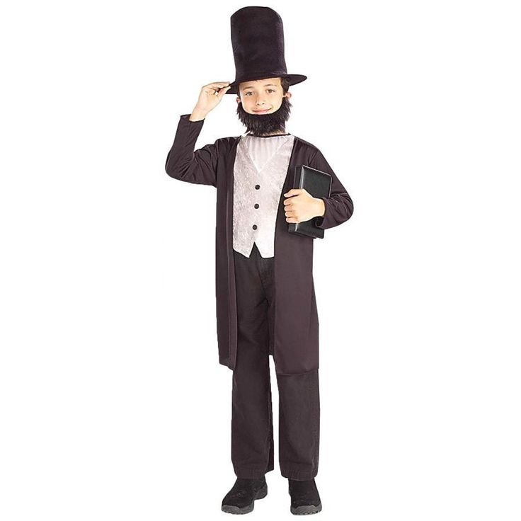 Your child can now look just like honest Abe. jacket, shirt, hat, beard. Pants and shoes not included. Fits child medium sizes 8-10. Box Dimensions (in Inches) Length : 16.00 Width : 12.00 Height : 4.