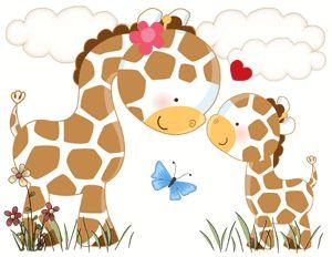 """Giraffe Love"" Baby Nursery Wall Art Mural."