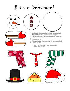 Smarty Pants Fun Printables: Printable Snowman and Snow Woman Arts and Craft for Kids