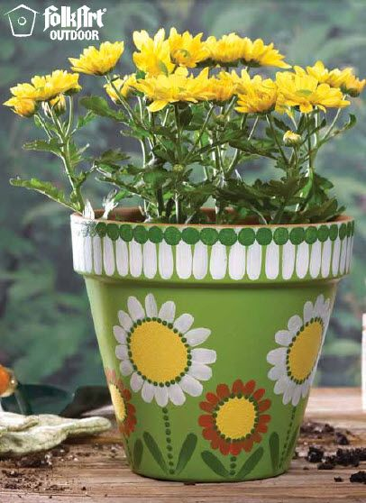 Plaid® FolkArt® Pretty Flower Pot- so pretty- would match our house!