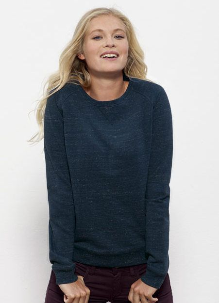 Joanne #crewneck #jumper for women is available in Denim Blue! This streaked, deep blue is still #fairtrade and made in Bangladesh/Pakistan from a blend of 85% #organiccotton and 15% polyester.