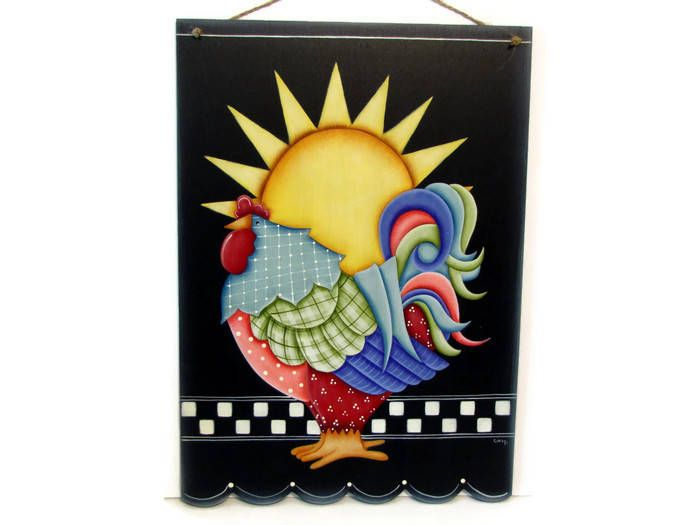 Colorful Rooster and Sun Sign with Scalloped Bottom,  Handpainted Wood, Hand Painted Primitive Home Decor Wall Art, Tole Decorative Painting by ToleTreasures on Etsy