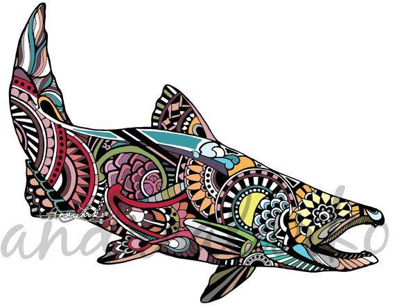 12 Zentangle Chinook Salmon Laminated Vinyl Decal by andrealarko