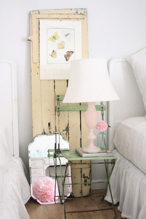Decor, Dreamy White, Old Shutters, Shabby Chic Design, Bedside Tables, Eclectic Bedrooms, Old Doors, Shabbychic, Shabby Chic Bedrooms