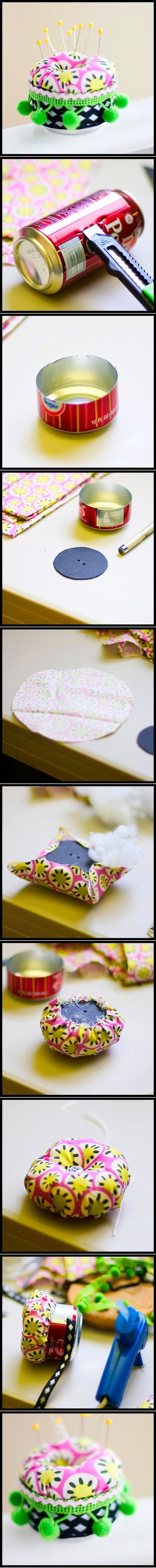 DIY Soda Can Pincushion | UsefulDIY.com Follow Us on Facebook ==> http://www.facebook.com/UsefulDiy