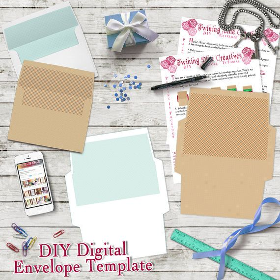 Tan and White 5x7 DIY Envelope Templates Printable 5x7 DIY Envelope Templates, Personal Use Envelope Templates, Digital Envelopes, 5x7 Printable Envelope Templates