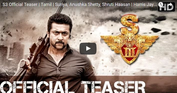 Presenting You the Official Tamil Teaser of S3 S3 is an upcoming action film Written & Directed by Hari. Cast : Suriya, Anushka Shetty,
