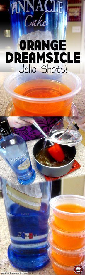 ORANGE DREAMSICLE VODKA JELLO SHOTS - Made with Pinnacle Cake flavored vodka. Good for any party! #LiquorList www.LiquorList.com @LiquorListcom