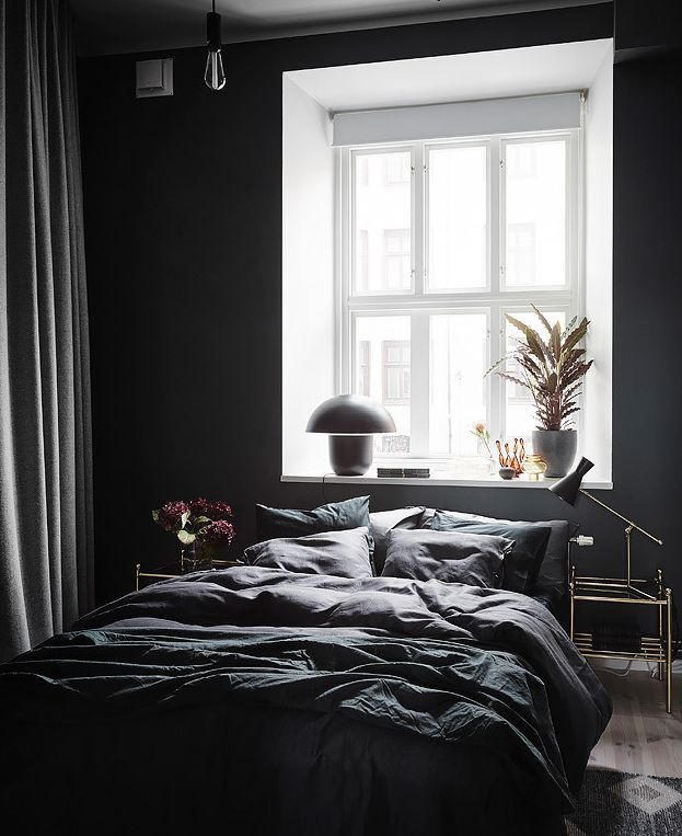 Exposed Brick And Black Bedroom Walls Black Walls Bedroom Black
