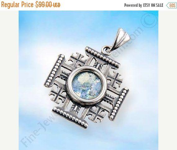 Sterling Silver Jerusalem Cross Pendant set with Ancient Roman Glass