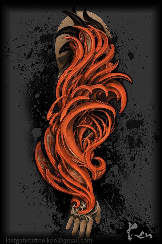 フラッシュアート,バイオメカ,バイオ,カラー,バイオタトゥー,トライバル,デザイン画,腕,十分袖,手の甲,手のタトゥーデザイン|タトゥーナビ