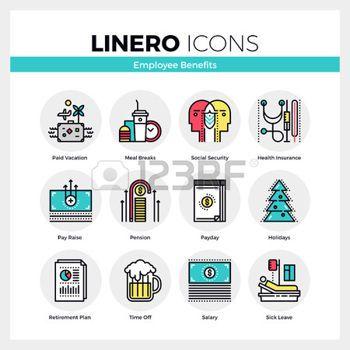pictogramme: icônes de ligne ensemble d'avantages sociaux en entreprise prospère. couleur moderne design plat de collection pictogramme linéaire. Outline vecteur concept de symbole pack course mono. Prime matériel graphique Web de qualité.