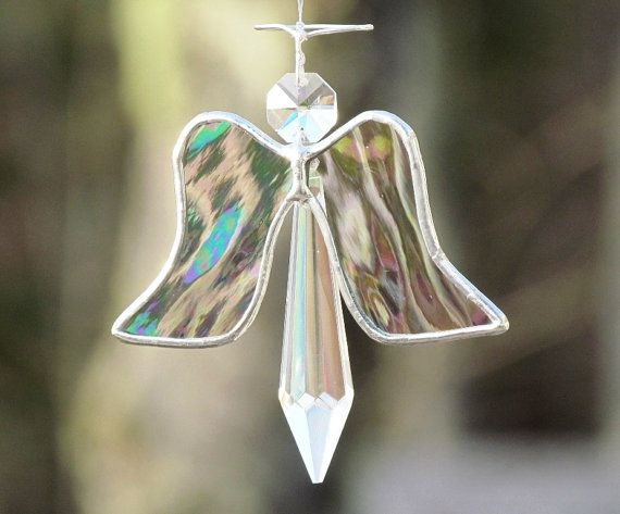 Angel Ornament Crystal Silver Stained Glass Christmas Tree