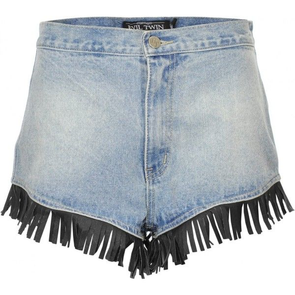 Evil Twin   Evil Twin Jail Bait Ass Out Denim Shorts  ... ($33) ❤ liked on Polyvore featuring shorts, jean shorts, short jean shorts, evil twin, short denim shorts and fringe shorts