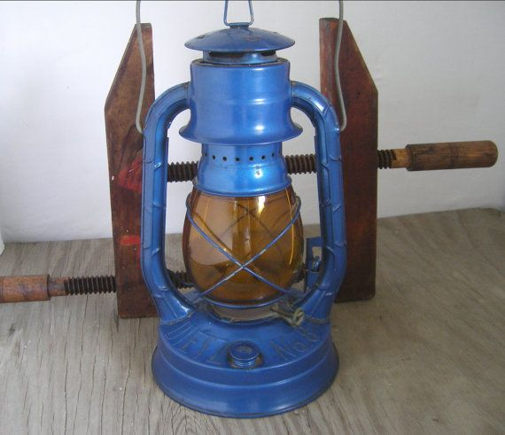 Vintage Railroad Lantern Blue Amp Amber Globe Dietz Air