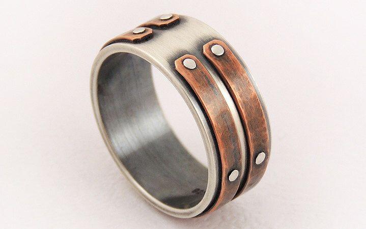 Silver copper unique men ring - men's engagement ring,unique men ring,men's rustic ring,wedding ring by GilleriJewel on Etsy https://www.etsy.com/listing/199824400/silver-copper-unique-men-ring-mens