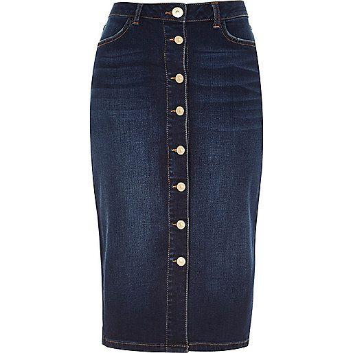 Dark denim button-up midi pencil skirt