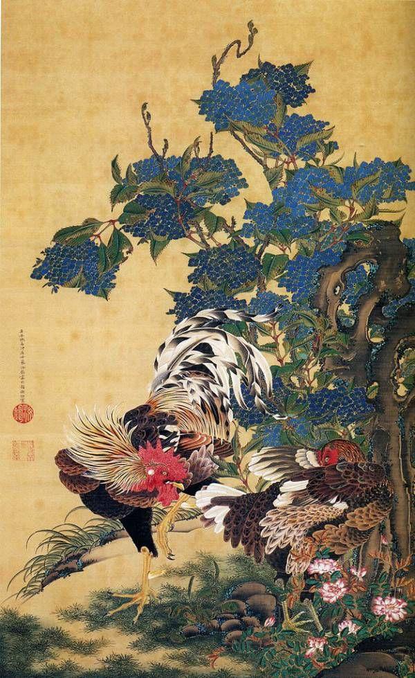 「紫陽花双鶏図」