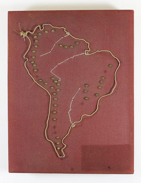 Fabric cushion map made by Perkins School for the Blind students, circa 1900. Map with tactile elements for use by the blind it has an outline of South America in wire with metal pegs for mountain ranges and white stitching for rivers.Visit the Perkins Archives Flicker page: http://www.flickr.com/photos/perkinsarchive/collections/: