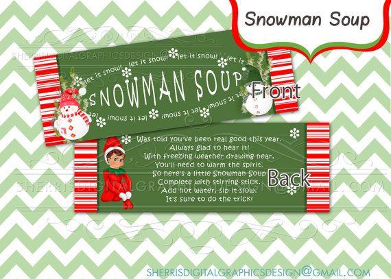 Snowman Soup_treat bag topper_DIY Printable by SDGDesignz on Etsy, $2 ...