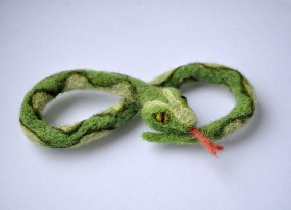 Needle felted snake magnet green infinity by HelenDream on Etsy, $20.00