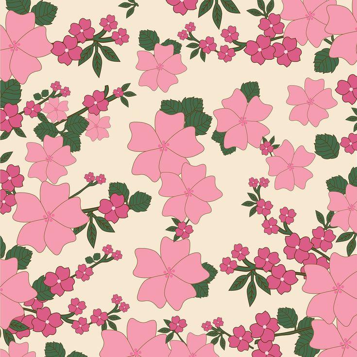 Floral, Vintage, Flowers, Wallpaper, Background, Pink