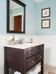 Blue and Brown Bathroom by home sweet home