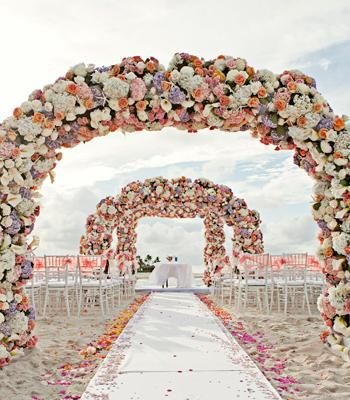 Bahamas Wedding With Three Full Arches Of Flowers Think Those Archways Would Work For Any Outdoor But On The Beach
