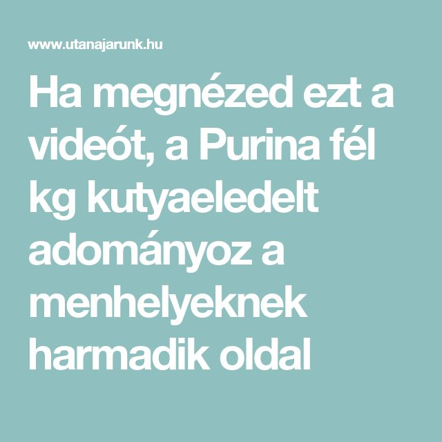 Ha megnézed ezt a videót, a Purina fél kg kutyaeledelt adományoz a menhelyeknek harmadik oldal