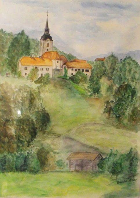 watercolour painting of a our church #church #wattercolour #nature