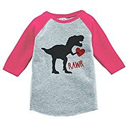 Custom Party Shop Kids Dinosaur Happy Valentine's Day 5T Pink Raglan